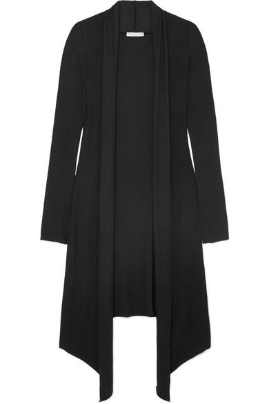 Michi Ribbed Stretch-Knit Cardigan in Black