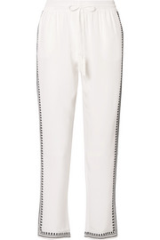Embroidered silk crepe de chine straight-leg pants