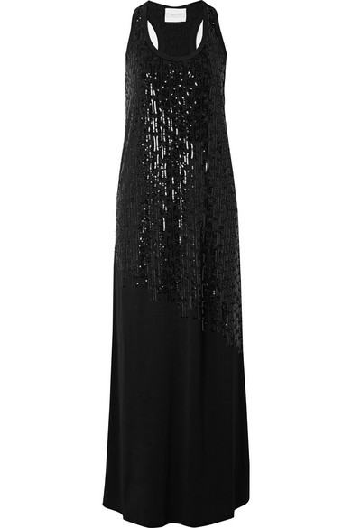 MARIE FRANCE VAN DAMME SEQUINED STRETCH-JERSEY MAXI DRESS