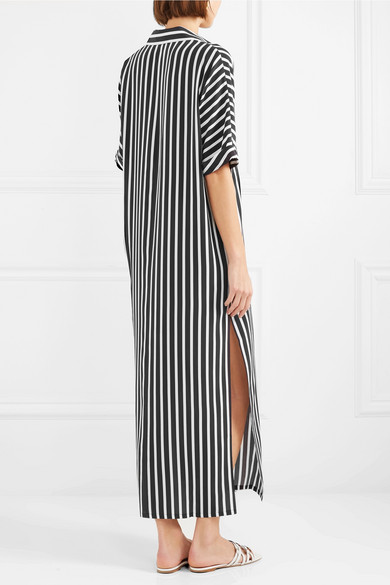Best Wholesale With Credit Card Cheap Online Striped Silk Crepe De Chine Kaftan - Black Marie France Van Damme Inexpensive Cheap Online jtpkgR