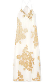 Marie France Van Damme Metallic floral silk-blend jacquard maxi dress