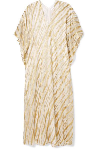 Ivy Boubou Metallic Striped Silk-blend Jacquard Kaftan - White Marie France Van Damme Shop For Sale Online Xp87rcsyh3