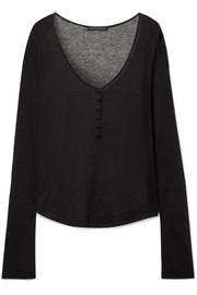 Ribbed modal and cashmere-blend top