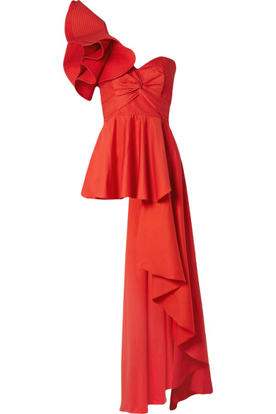 Johanna Ortiz - Paso Doble One-shoulder Ruffled Cotton-blend Poplin Top - Red