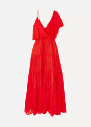 Noche De Rosas asymmetric ruffled silk maxi dress