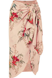 Libertad Lamarque knotted printed silk-georgette wrap skirt