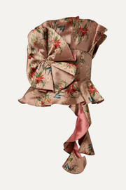 Fairy Tale ruffled floral-print satin-jacquard top