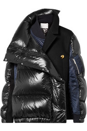 Oversized wool-paneled quilted shell down coat