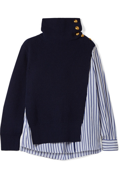 Sacai - Paneled Striped Cotton-poplin And Wool Top - Navy