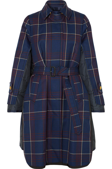 SACAI Layered Checked Wool And Quilted Shell Coat in Blue