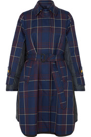 Layered checked wool and quilted shell coat