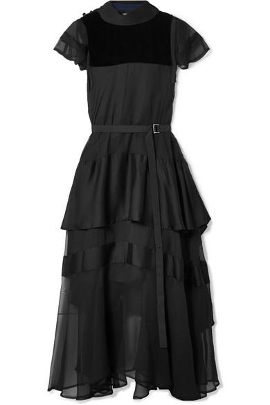 Sacai - Layered Velvet-paneled Cotton-poplin And Chiffon Midi Dress - Black