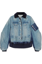 Denim and shell bomber jacket