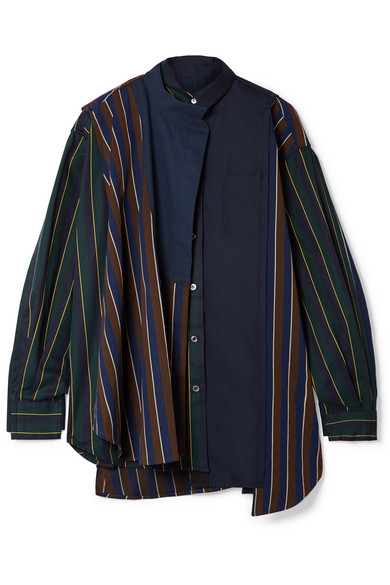 Sacai - Oversized Paneled Striped Twill And Cotton-poplin Shirt - Army green