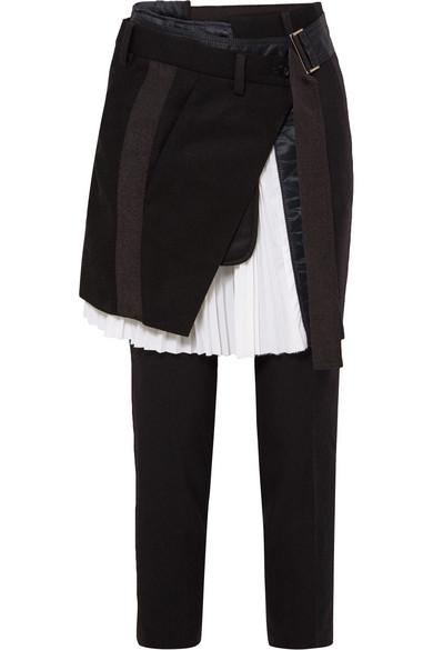 Sacai - Pleated Poplin-paneled Wool-blend Straight-leg Pants - Black