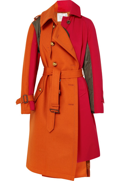 Paneled Wool, Cotton-Twill And Quilted Shell Coat in Papaya