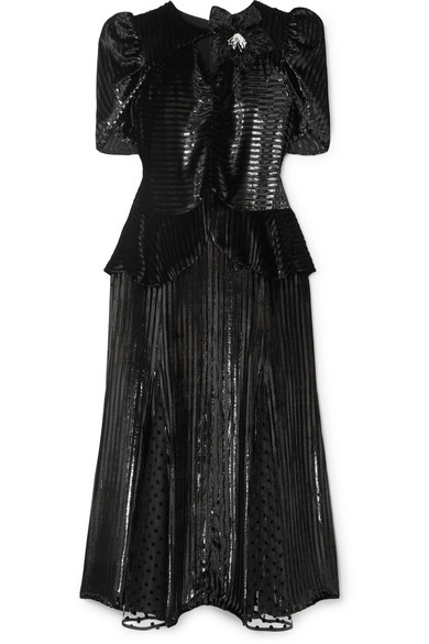 Erdem - Diantha Striped Metallic Velvet And Flocked Tulle Midi Dress - Black