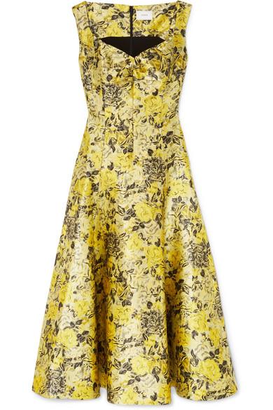 Verna Floral-Jacquard Midi Dress