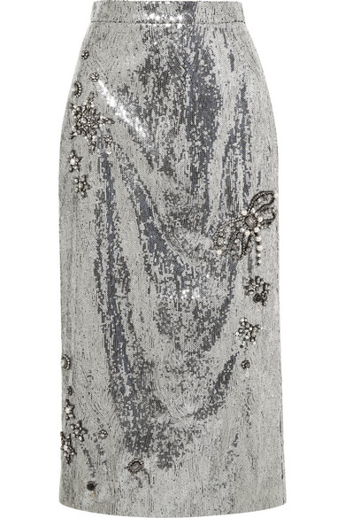 ERDEM Sacha Mid-Length Skirt, Size Uk10, Women, Silver