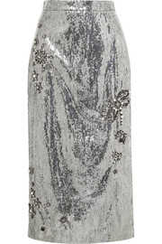 Sacha embellished sequined georgette skirt