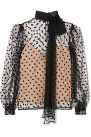 Costarellos Pussy-bow polka-dot flocked tulle blouse