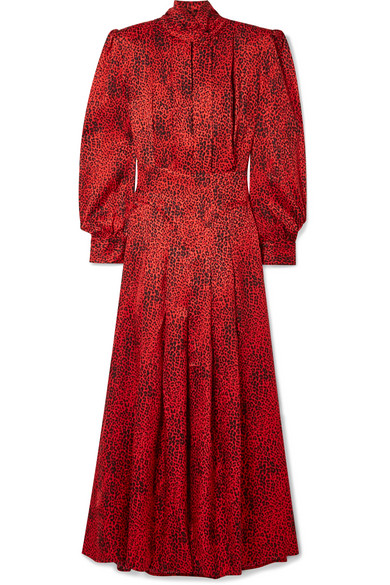 Alessandra Rich - Leopard-print Silk-jacquard Maxi Dress - Red