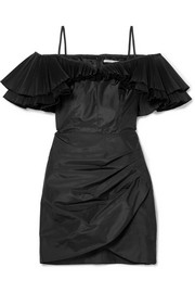 Ruffled silk-blend taffeta mini dress