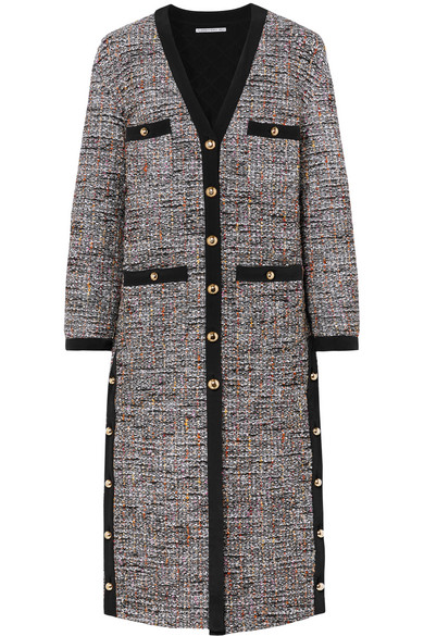 Alessandra Rich - Button-embellished Boulcé-tweed Cardigan - Gray