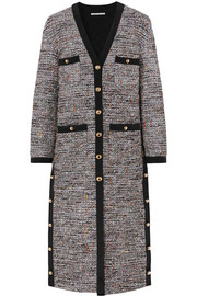 Button-embellished boulcé-tweed cardigan