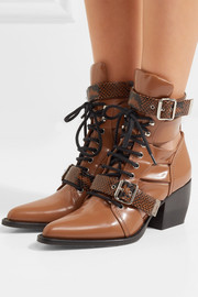Rylee cutout snake effect-trimmed leather ankle boots