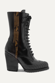 Rylee snake-effect leather-trimmed glossed-leather ankle boots