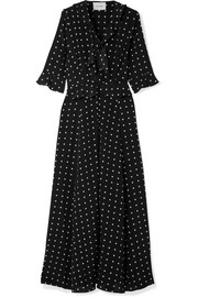 we are LEONE Ruby ruffled polka-dot silk crepe de chine robe