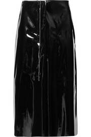Faux patent-leather midi skirt