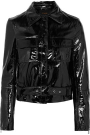 Cropped patent-leather jacket