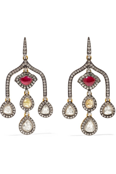 AMRAPALI 18-KARAT GOLD, STERLING SILVER, DIAMOND AND RUBY EARRINGS
