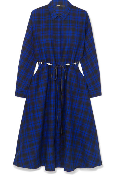 Maje - Belted Checked Cotton-flannel Midi Dress - Black