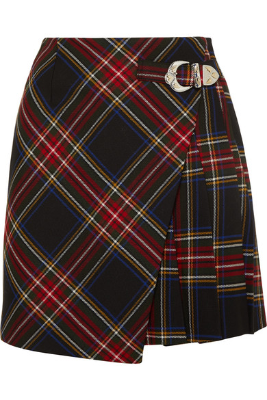 Wrap Effect Tartan Twill Mini Skirt by Maje