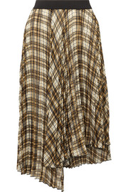 Asymmetric pleated checked chiffon midi skirt