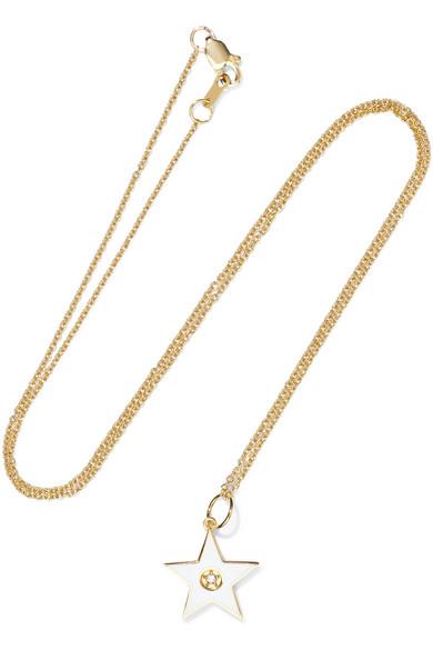 ANDREA FOHRMAN 18-KARAT GOLD, DIAMOND AND ENAMEL NECKLACE