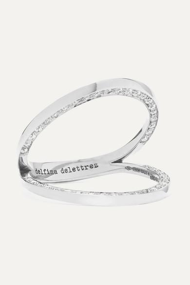 DELFINA DELETTREZ 18-Karat White Gold Diamond Ring in Silver