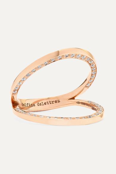 DELFINA DELETTREZ 18-Karat Rose Gold Diamond Ring