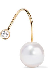 Sophie Bille Brahe Petite Elipse Kelly 14-karat gold, pearl and diamond earring