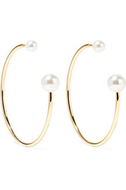 Sophie Bille Brahe Bouclé Kelly 14-karat gold pearl hoop earrings