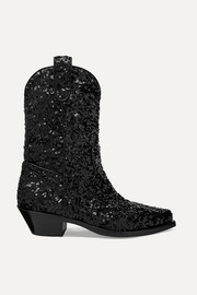 Dolce & Gabbana Sequined leather ankle boots