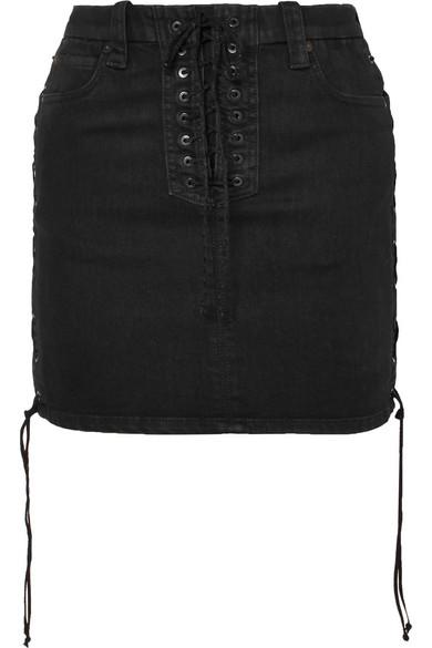 Lace-Up Denim Mini Skirt in Black