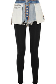 Layered frayed denim and stretch-jersey leggings