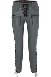 Unravel Project Lace-up leather skinny pants