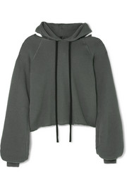 Unravel Project Distressed cotton and cashmere-blend hoodie