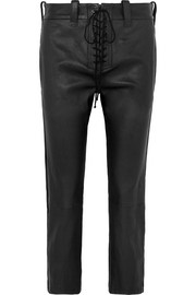 Unravel Project Lace-up leather straight-leg pants