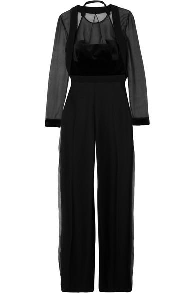 Wool-Crepe, Velvet And Silk-Organza Jumpsuit, Black